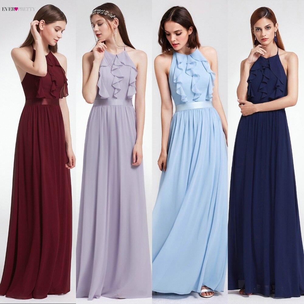 Bridesmaid Dress Ever Pretty Women Elegant Halter Ruffles Adjustable Floor Length Sleeveless Backless Wedding Party Gowns