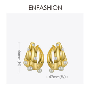 Image 4 - ENFASHION Punk Pearl Double C Hoop Earrings For Women Gold Color Big Statement Earings Fashion Jewelry Pendientes Aro EC191042