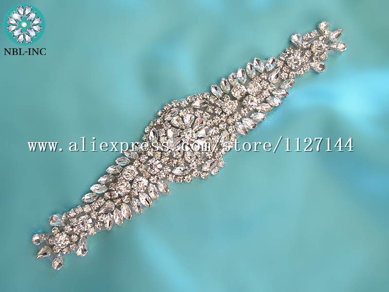 (1PCE )Bridal hand beaded sewing crystal rhinestone appliques iron on for wedding dresses WDD0750