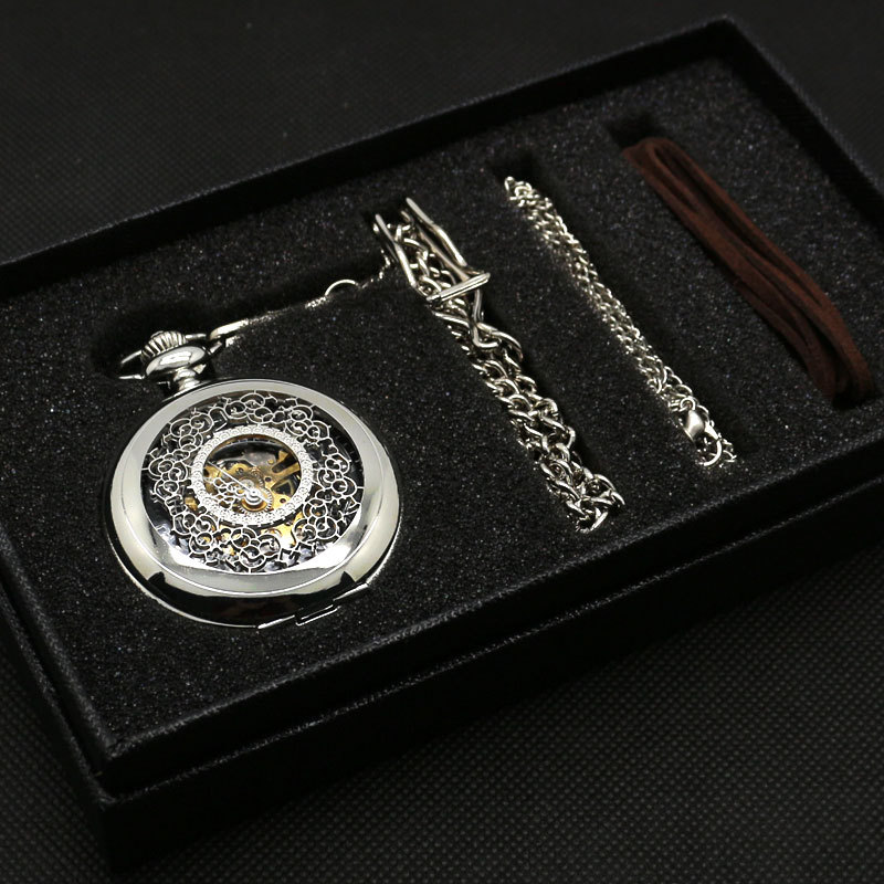 Fashion Hollow Flower Silver Hand Winding Mechanical Pocket Watch Mens Womens Box Bag(China)