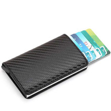2019 New Men Antitheft Metal Card Holder Fashion RFID Aluminium Credit Crazy Horse PU Travel Wallet Rfid