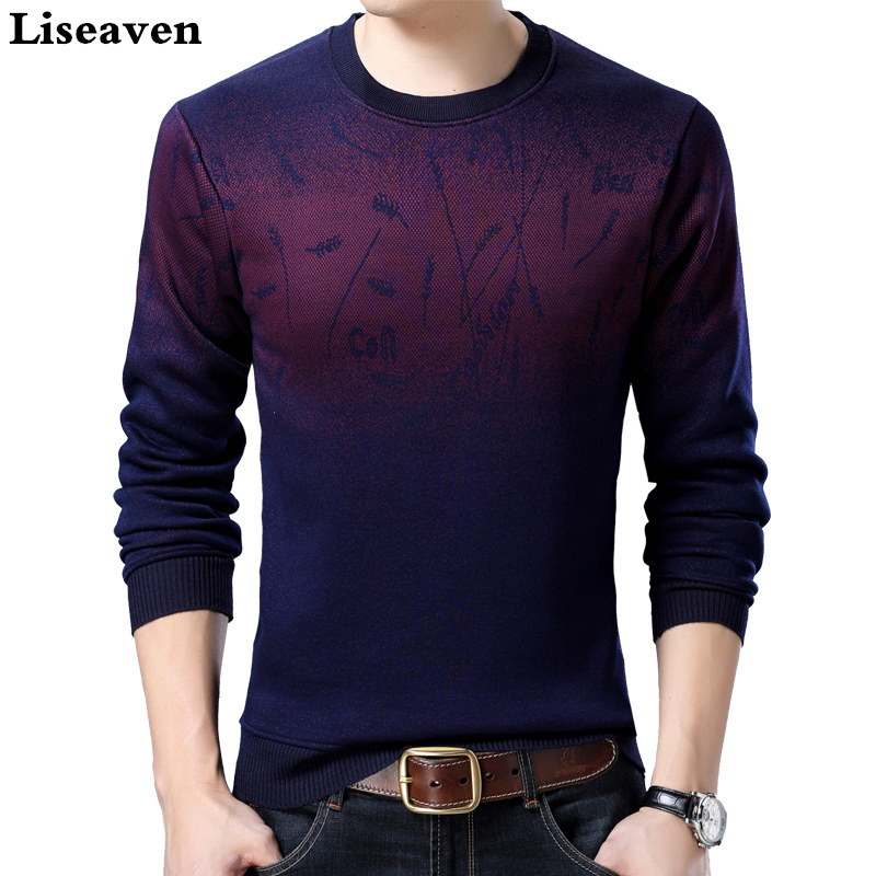 Liseaven Sweater Men Brand Thickening Pullover Sweater Male O-Neck Slim Fit Knitting Mens Sweaters Man Pullovers