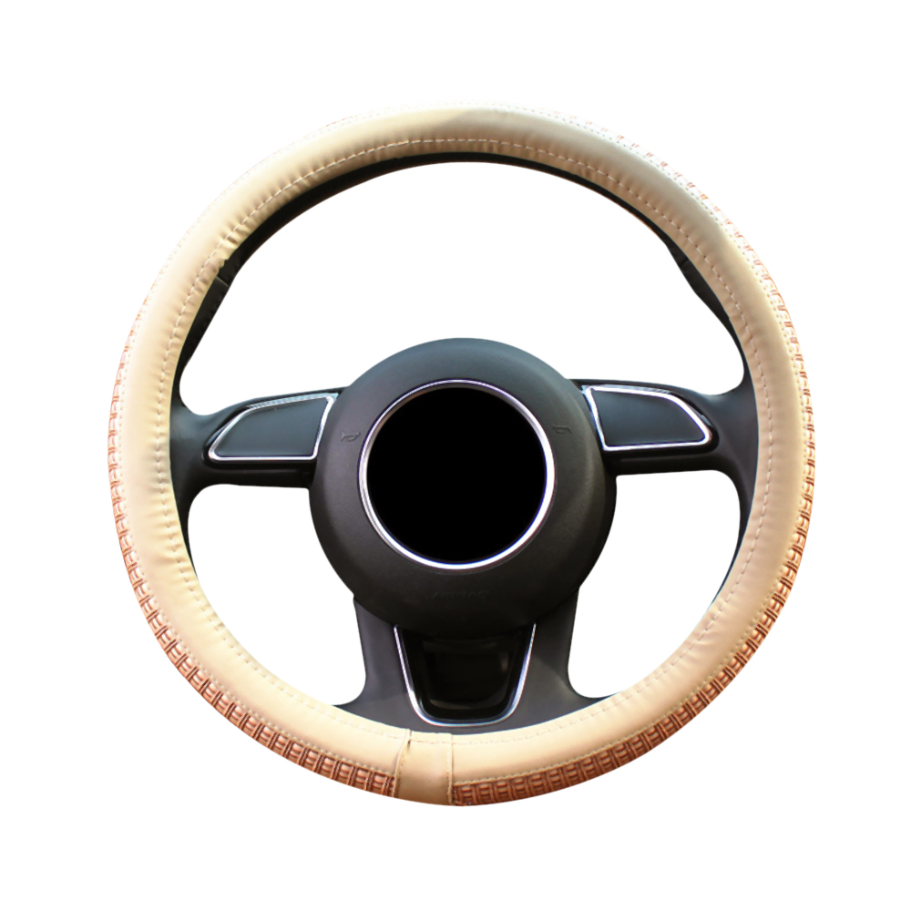 Cover Car Steering Wheel Microfiber Leather Covered Steering Wheel Covers Interior Accessories Beige Universal