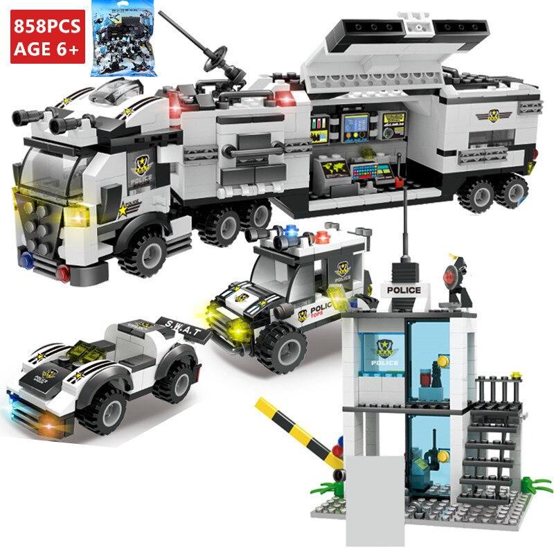 858 Pcs SWAT Da Polícia Da Cidade de Comando Veículo Truck Car Building Blocks Define Bricks Criador Playmobil Brinquedos Educativos para Crianças