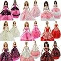 5 Шт. Высокое Качество Мода Ручной Работы Одежда Платья Растет Наряд для Barbie Doll платье для девочек Случайные Типы и Цветы корабль