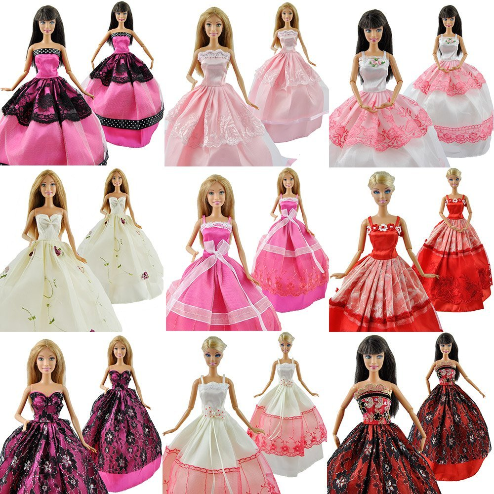 5 Pcs High Quality Fashion Handmade Clothes Dresses Grows Outfit for Barbie font b Doll b