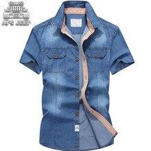 3a03bf117a9c7 AFS JEEP Kot Erkek Gömlek Denim Batı Kot Artı Boyutu Gevşek erkek Şort Kollu  100%