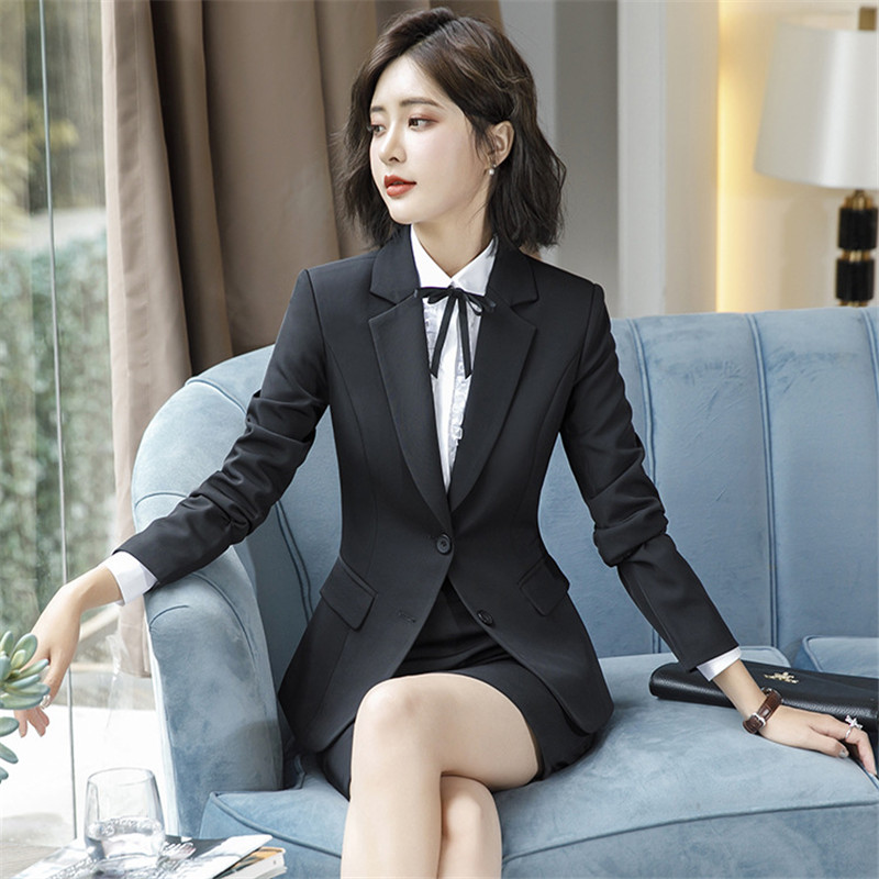 Work Fashion Pant Suits 2 Piece Set for Women singel Breasted solid color Blazer Jacket&Trouser Office Lady Suit Feminino 4