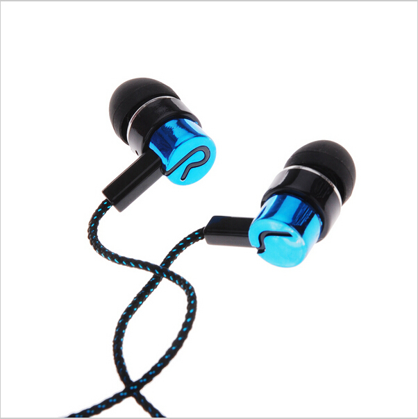 MP3/mp4 Roping Stereo 3.5mm Subwoofer In Ear Earbud 1.1M Reflective Fiber Cloth Line Metal Earphone Hot Sale
