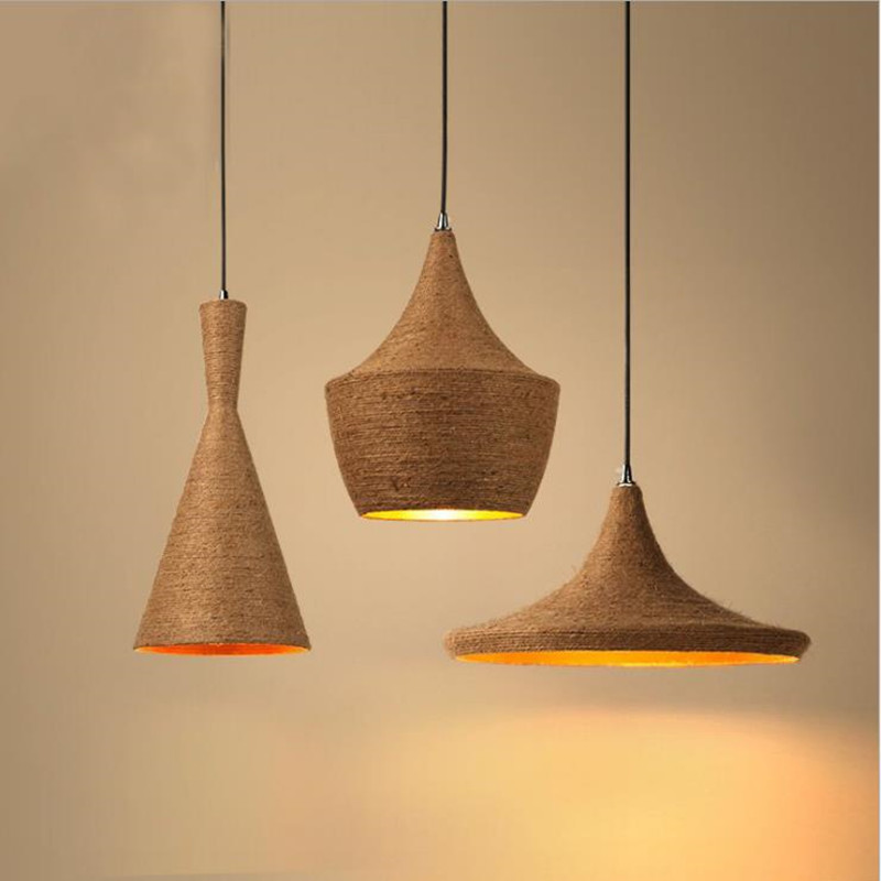 Musical Instrument Dining Chandelier Industry Creative Personality Contracted Modern Bar Restaurant Lamp Retro Bedroom Hemp Rope