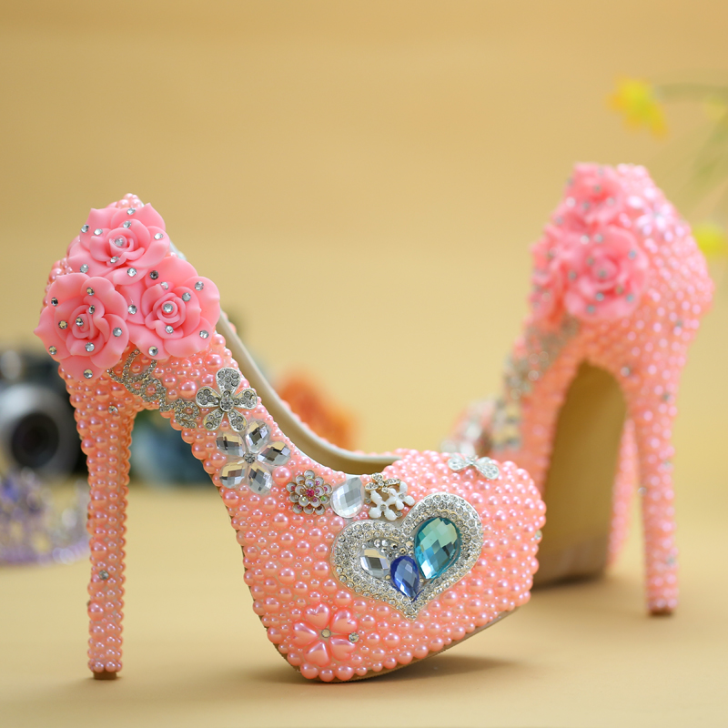 Blue gem pink pearl high heeled shoes wedding formal dress banquet initiation rite shoes