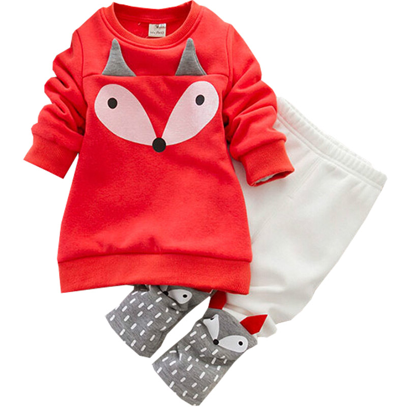 ФОТО Autumn winter Baby Girls Clothing set Lovely Children's Clothing 2PCS Thick Long Sleeve Fox Tops + Pant Sets