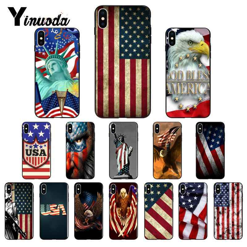 Yinuoda Amerikaanse vlag USA Custom Photo Soft Telefoon Case voor iPhone 8 7 6 6 S 6 Plus 5 5 S SE XR X XS MAX Coque Shell