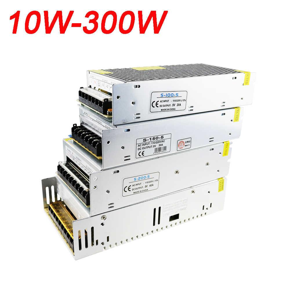 Высокая Мощность AC110V 220 V постоянного тока до DC5V Светодиодные ленты мощность переменного тока 5В адаптер 2A 3A 5A 10A 20A 30A 40A 60A 10 W-300 W Переключатель Питание 1 шт.