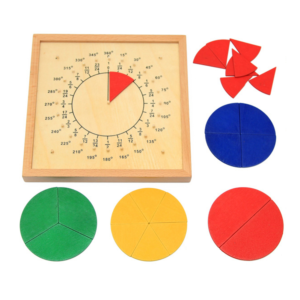 Baby Toys Circular Mathematics Fraction Division Teaching Aids Montessori Board Wooden Toys Child Educational Gift Math Toy baby montessori education toys dominos children preschool teaching aids counting and stacking board wooden arithmetic math toy