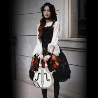 Princess Sweet Lolita Bags Vintage Royal Violin Cosplay Young Girls Music Cello Shape White Black Cos