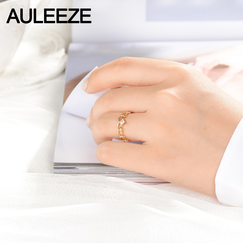 AULEEZE Crown Design Natural Diamond Ring 18K Yellow Gold Womens Rings Real Diamond Fine Jewelry Vintage European Gifts