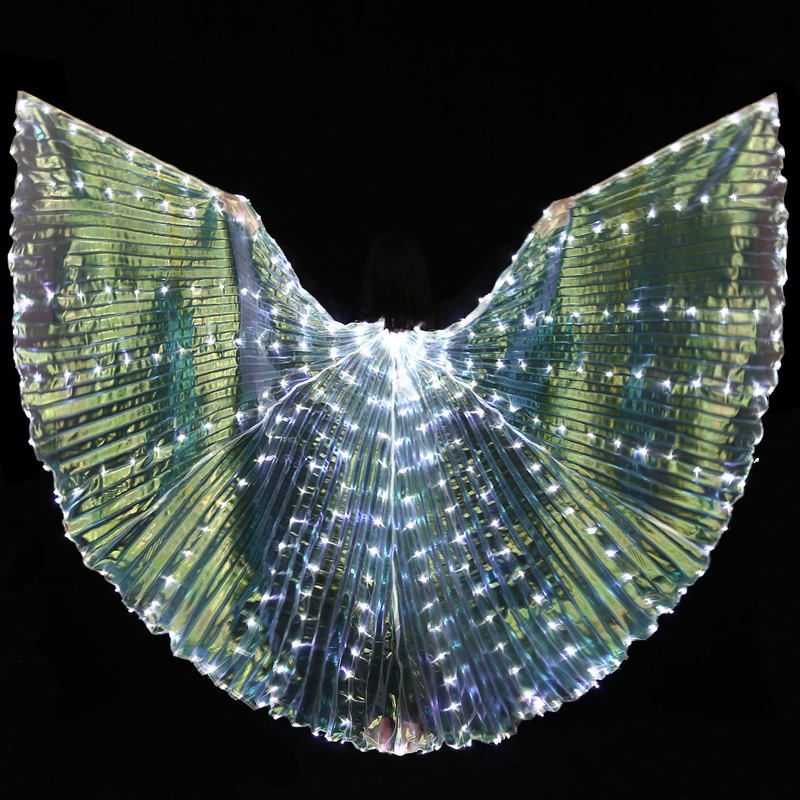 Women White Gold Light Belly Dance LED ISIS Angel Wings Butterfly Dancer Costume Glowing Oriental Bellydance Dancing Accessories