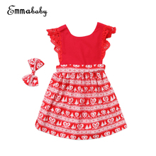 Little Girls Christmas Dress Toodler Baby Girl Kids Lace Fancy Flying Sleeve Dress Party Dresses Xmas Clothing
