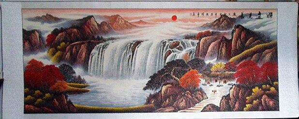 Wang reminder five elements Figure landscape painting office