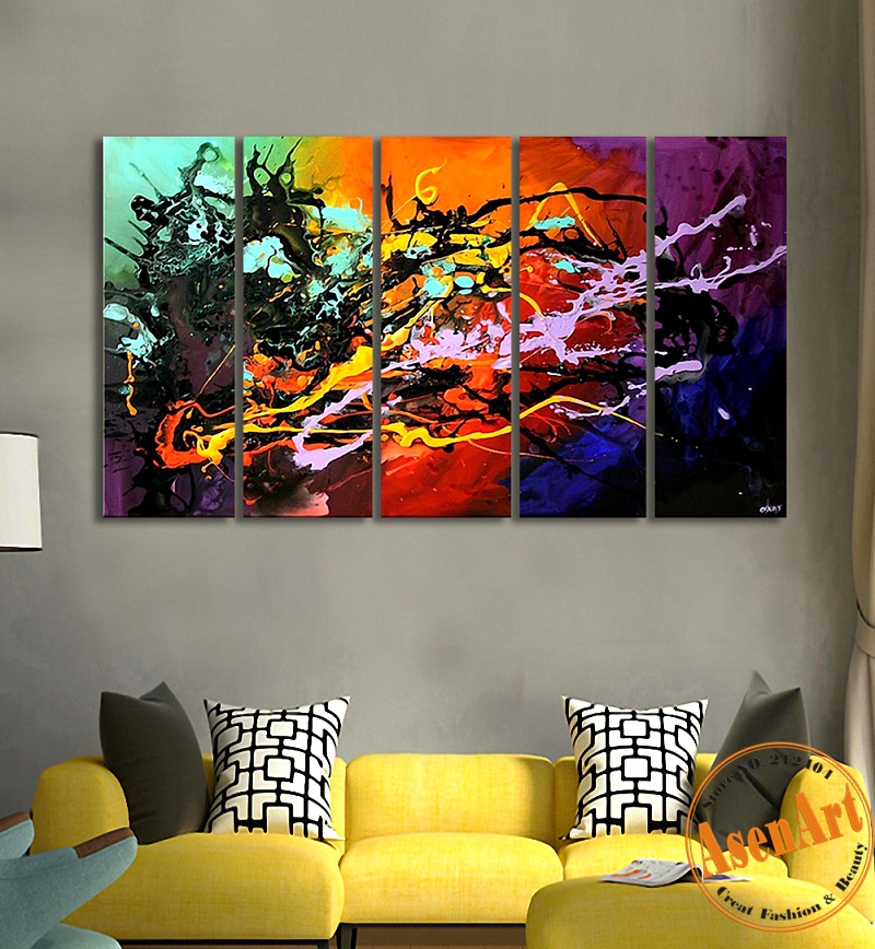 Large Abstract Oil Painting 5pcs Handpainted Colorful Canvas Oil Painting Unframed Modern Abstract Wall Painting for Living Room