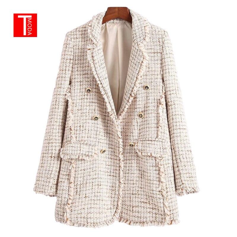 Vintage Double Boutonnage Poches Effilochés Longue Blazer Manteau Femmes 2018 Mode Col Cranté Vêtements D'extérieur Pour Femme décontracté Casaco Femme