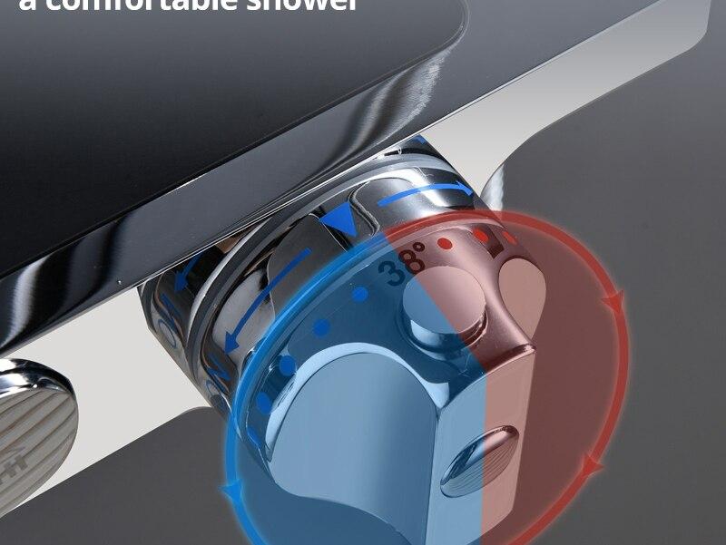 hm Black Rainfall Thermostatic Shower Faucet Set Single Lever Brass Mixer Valve Rack Bath Shower Mixers Rack shower set (10)