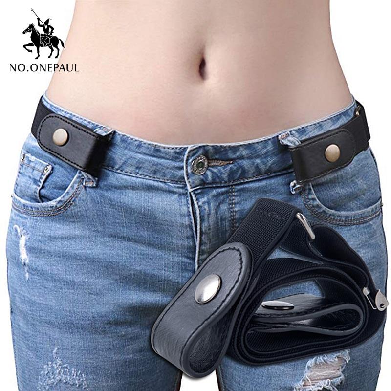 Jeans women's punk style buckle-free belt