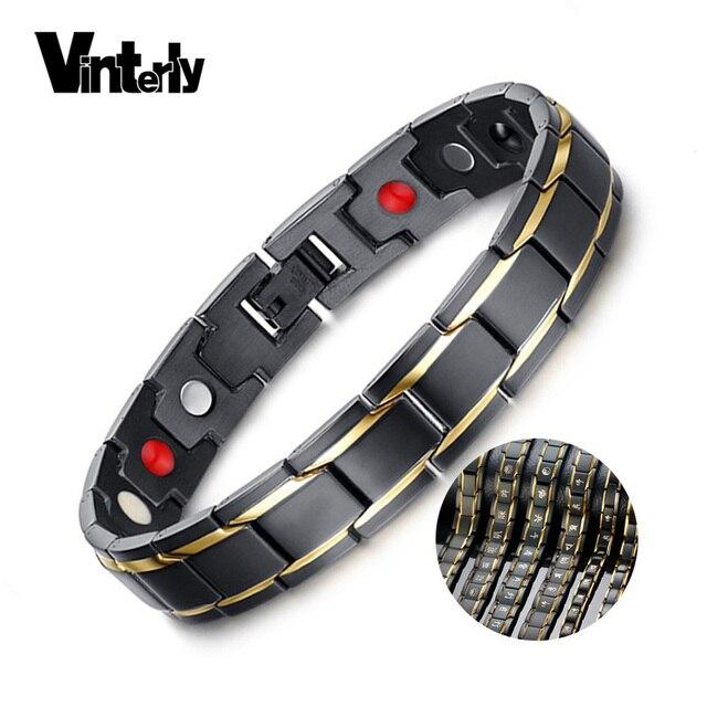 d35527296e8ef Vinterly Mens Black Bracelet Gold Color Health Energy Germanium Stainless  Steel Bracelet Male Magnetic Bracelets for Men Jewelry