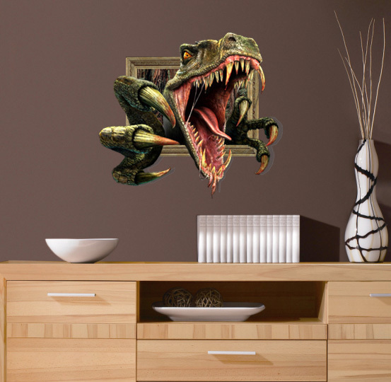 hot newest wall stickers home decor 3d dinosaur removable
