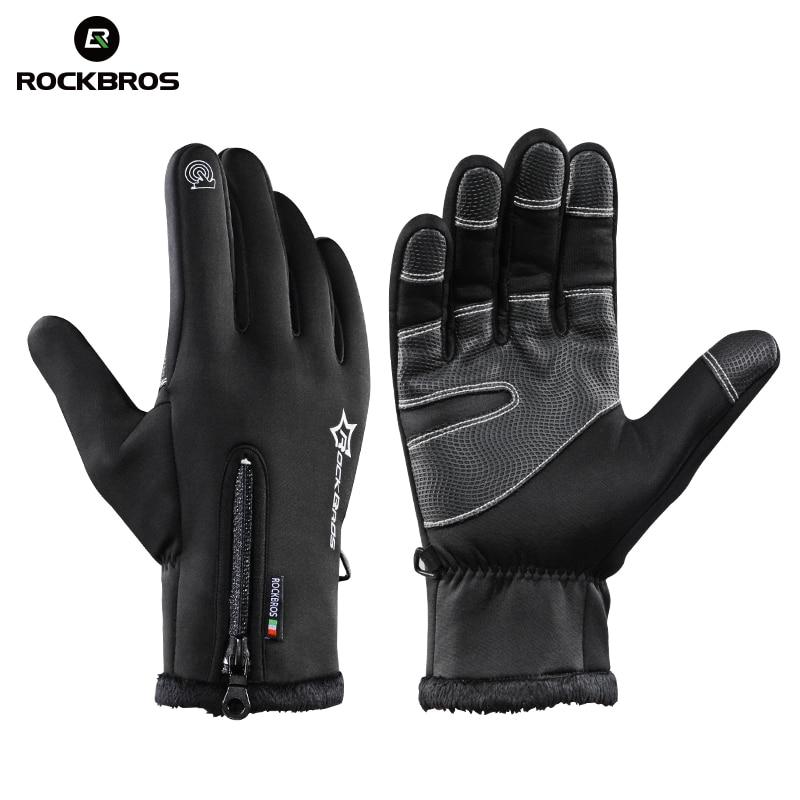 ROCKBROS Thermal Ski Gloves Winter Fleece Waterproof Snowboard Gloves Snow Motorcycle Skiing Gloves Sportswear Audlt Kids Gloves вибратор mp3 audlt