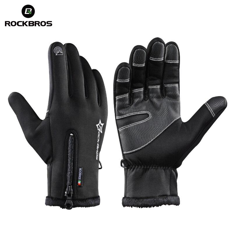 ROCKBROS de esquí térmico guantes de lana de invierno impermeable Snowboard guantes de nieve de la motocicleta guantes de esquí ropa deportiva Audlt guantes de niños