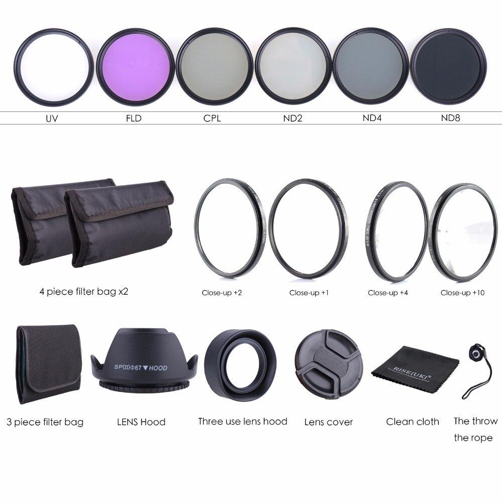 Kit de filtre d'objectif 67 MM-réglage de gros plan Macro & CPL UV FLD avec pochette pour objectif d'appareil photo Nikon Canon 67mm