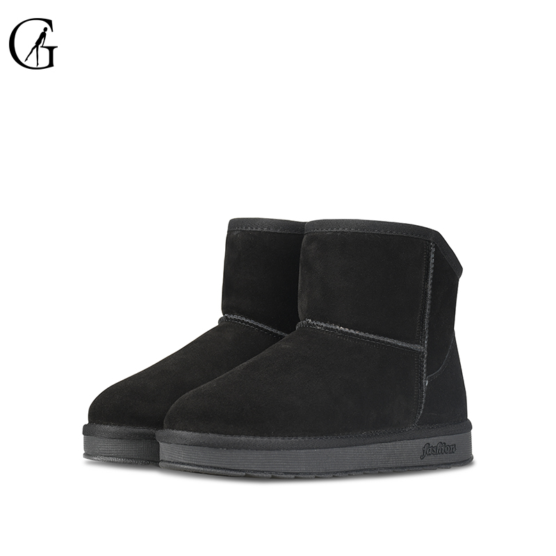 GOXEOU Winter Women Snow Boots Cow Suede Genuine Leather Round Toe Short Plush Mujer Slip-On Ankle Casual Women Boots round toe suede slip on plimsolls