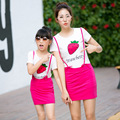 SUMMER Short Sleeve Family Clothes Sets Matching Mother And Daughter Set Skirt + Cotton strawberry T Shirt Girls Clothing Sets