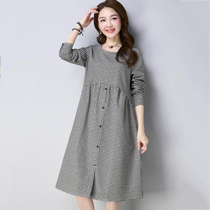 Cotton Linen Long Sleeve Female Autumn Dress Folk Style Women's Round Neck Long Plaid Dresses Buttons