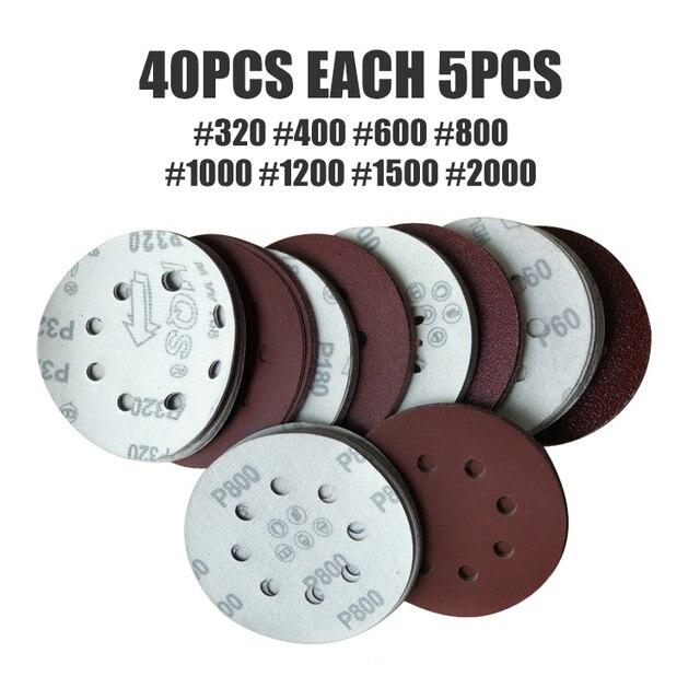40 pcs 125mm 8 lỗ Nhám Đĩa Chà Nhám Đánh Bóng Vải Cát Giấy Đĩa 320/400/600/800 /1000/1200/1500/2000