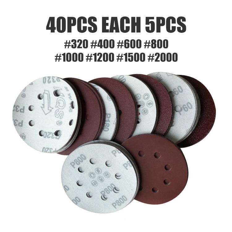 40pcs 125mm 8 Hole Sander Disc Sanding Polishing Paper Sandpaper Disc 320/400/600/800/1000/1200/1500/2000