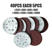 Disco para lijadora, disco para pulir papel de lija de 125mm y 8 agujeros 40 Uds. 320/400/600/800/1000/1200/1500/2000