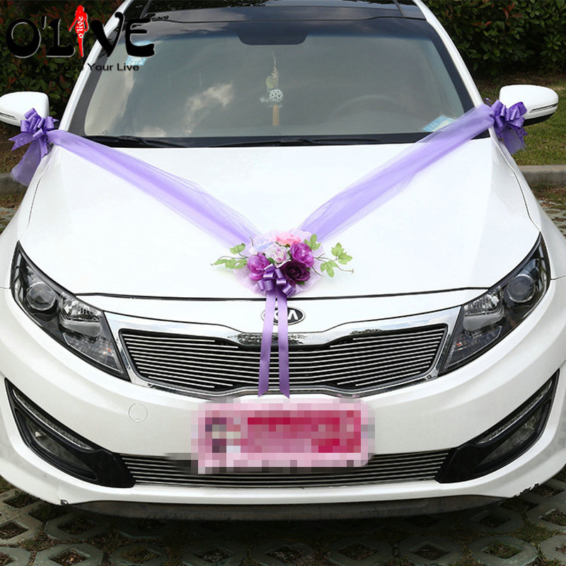 Artificial Flowers Wedding Car Decoration Sets Pink Purple Silk Flowers Wedding Decorative Tulle Wreath DIY Wedding
