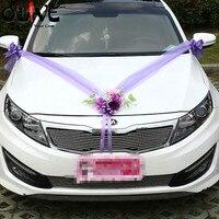 Artificial Flowers Wedding Car Decoration Sets Pink Purple Silk Flowers Wedding Decorative Tulle Wreath DIY Wedding