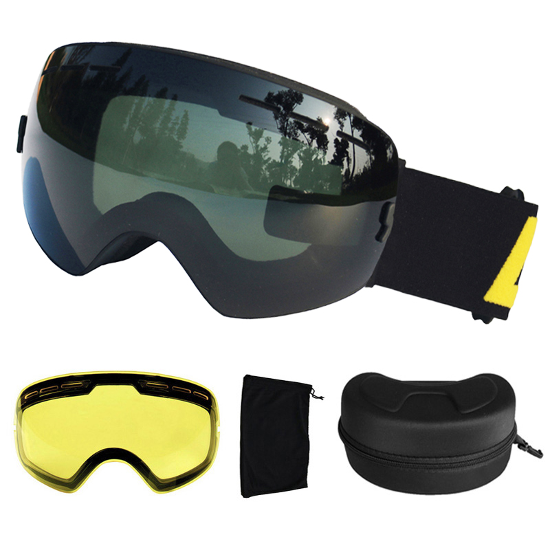 LOCLE UV400 Ski Goggles Anti-fog Ski Glasses Double Lens Snow Skiing Snowboard Goggles Ski Eyewear With Extra Lens And Box