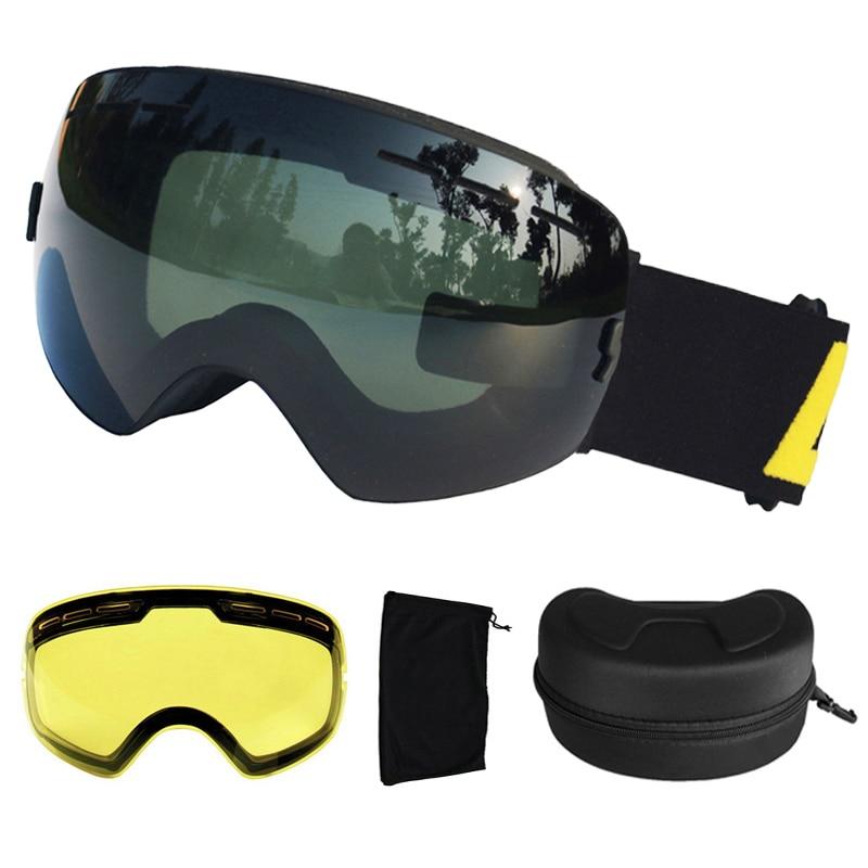 LOCLE UV400 Ski Goggles Anti-fog Ski Glasses Double Lens Snow Skiing Snowboard Goggles Ski Eyewear With Extra Lens And Box