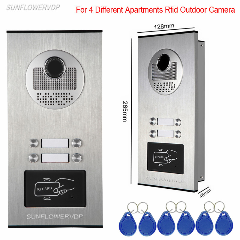 Access Control Rfid Unlock Camera For Doorphone 4 Buttons For 4 Apartments Video-Eyes At The Door Outdoor CCD Camera Doorbell access control function video door phones intercom systems for 5 apartments with five 7 lcd and 5 buttons outdoor camera