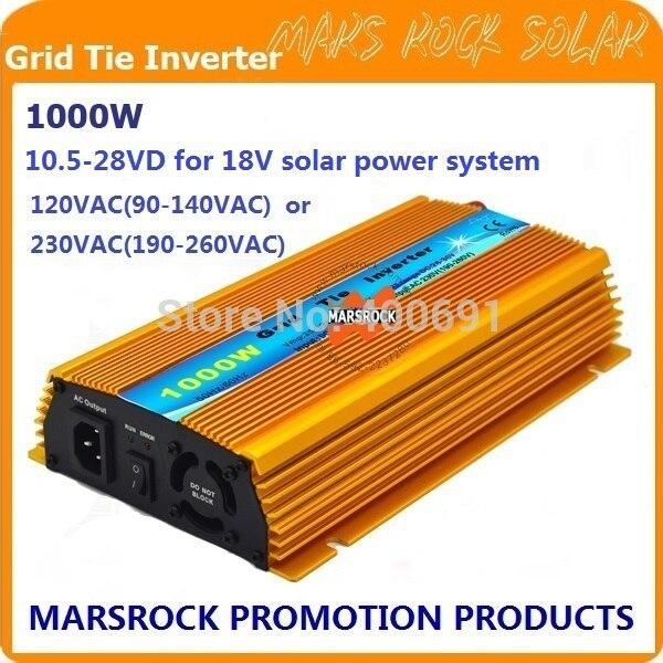 1000 Вт микро сетевой солнечный инвертор, чистая синусоида, MPPT функции для 18 В (10.5v ~ 28vdc), 90 В-140 В/180v ~ 260vac, 50 Гц-60 Гц
