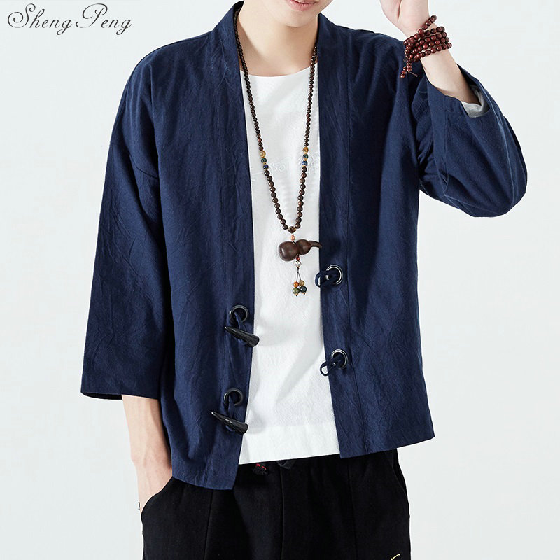 Kimono cardigan men black japanese kimono men samurai costume male yukata haori japanese clothing V1411