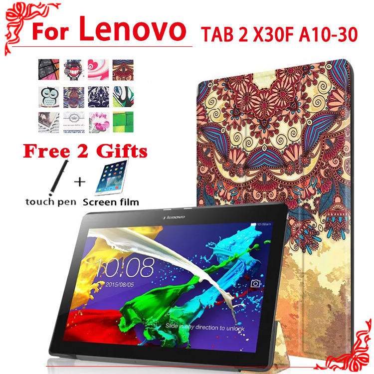 Stand Pu leather case cover For Lenovo TAB 2 X30F A10-30 10.1 tablet case for lenovo tab 2 A10-30 case + free 2 gifts tab 2 a10 70f stand pu leather case cover for lenovo tab 2 a10 30 x30f x30l magnet case for lenovo tab 10 tb x103f tab3 10 gifts