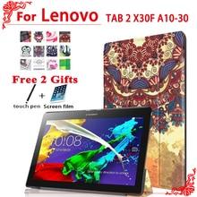 Pu del soporte de la cubierta funda de piel para lenovo tab 2 x30f a10-30 10.1 caja de la tableta para lenovo tab 2 a10-30 caso + free 2 regalos