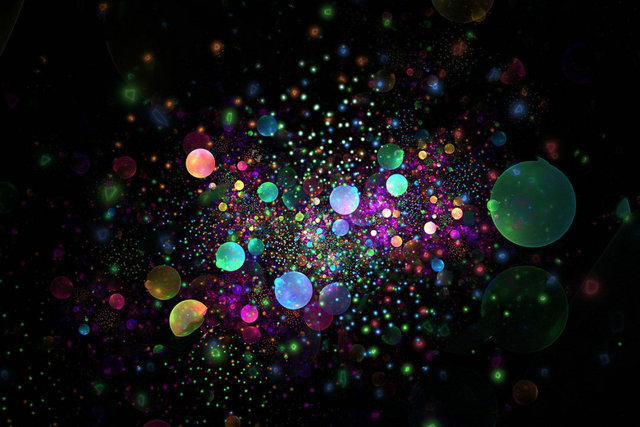 Abstract rainbow drops sparkles black texture green yellow blue pink