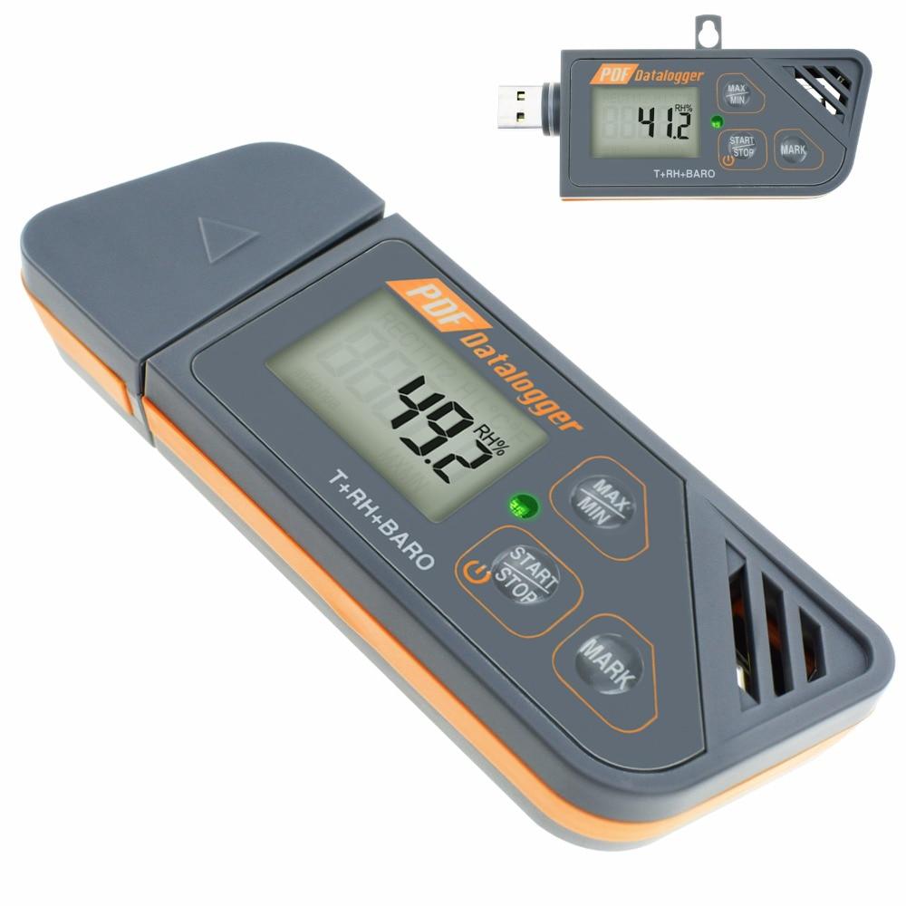 Digital Waterproof Humidity Temperature Pressure Barometric Datalogger Gauge PDF Excel Report LED Indicator USB Datalogger